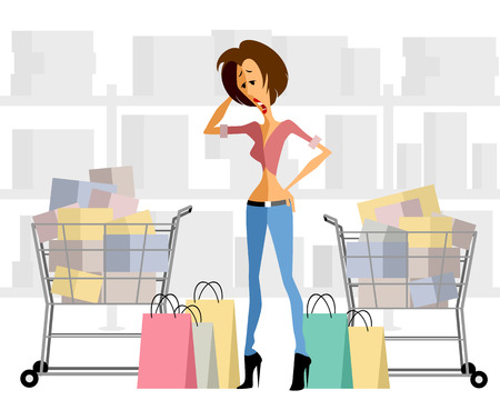 shopping chart: Vector illustration of a woman with shopping chart