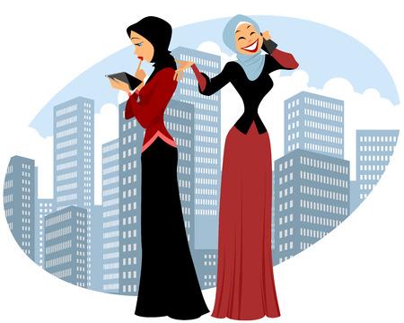 businesswomen: Vector illustration of a two businesswomen in city