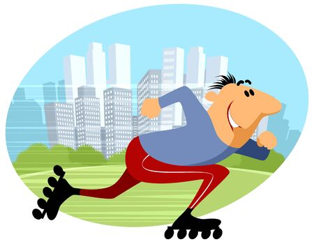 rollers: Vector illustration of a man rides on rollers