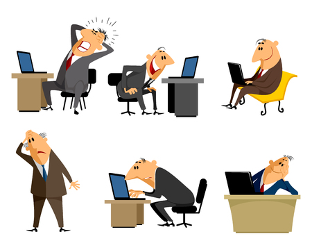 quandary: Vector illustration of a six office worker set