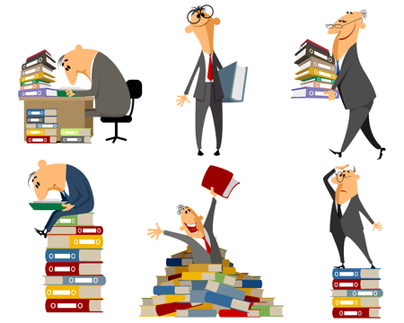 file clerks: Vector illustration of a clerk working with documents