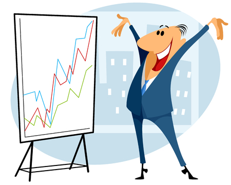 Vector illustration of a trader with graph Ilustrace