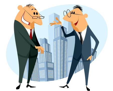 discussion: Vector illustration of a two businessmen discussion