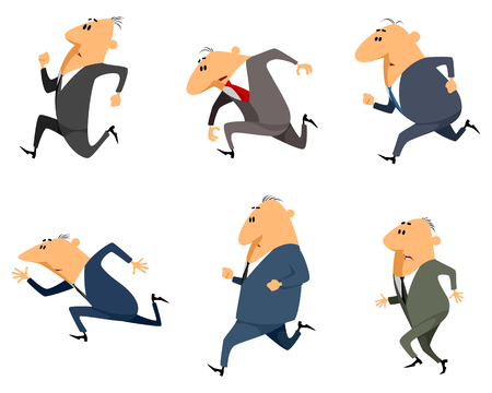 enemy: Vector illustration of a six businessmen running
