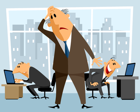 boss and employee: Vector illustration of a boss in perplexity