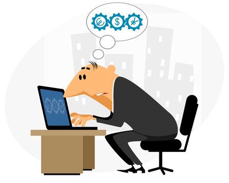 online bidding: Vector illustration of a businessman working at laptop Illustration