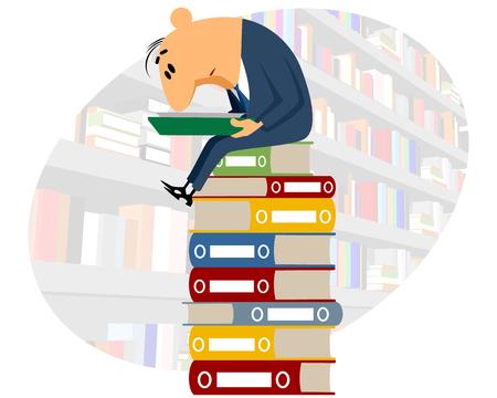 office worker cartoon: Vector illustration of a clerk reading documents