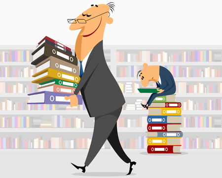 workday: Vector illustration of a businessman brings documents