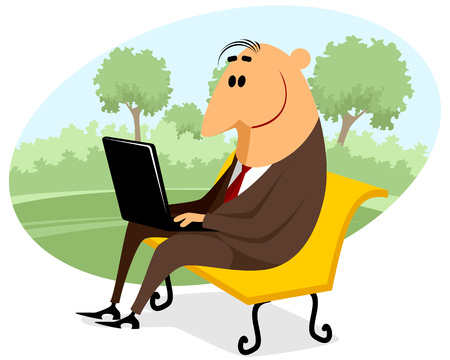 laptop outside: businessman with a laptop on the bench