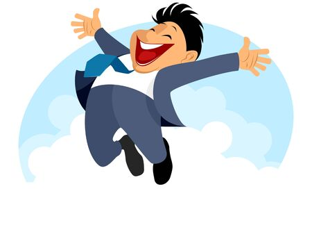 businessman jumping: Vector illustration of funny businessman jumping