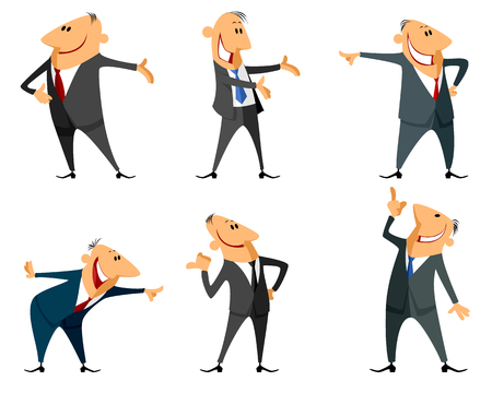 Vector illustration of a six businessmen set