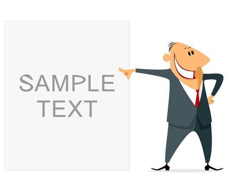 aspirational: Vector illustration of a funny businessman pointing Illustration