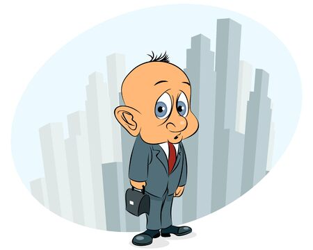 perplexity: Vector illustration of a businessman with case Illustration