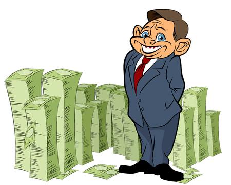 banker: Vector illustration of a banker with money Illustration