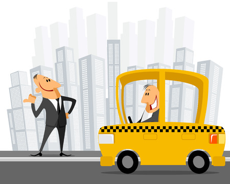 catching taxi: Vector illustration of a businessman catching taxi