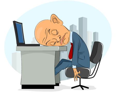 Vector illustration of a bald businessman asleep  イラスト・ベクター素材