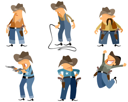 six shooter: Vector illustration of a six cowboys set