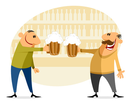beer foam: Vector illustration of a two men with bear