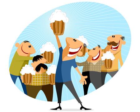 beer foam: Vector illustration of a men with bear Illustration