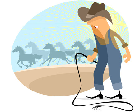 herd: Vector illustration of a cowboy with herd