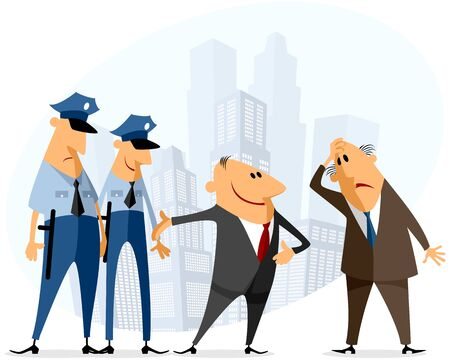 offense: Vector illustration of a businessmen and policeman