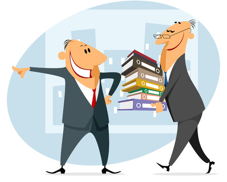 file clerk: Vector illustration of a businessman carries documents