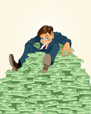 lucky money: illustration of a lucky businessman with money