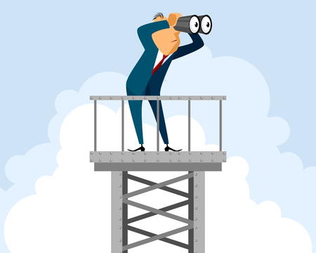 illustration of a businessman on tower Vetores