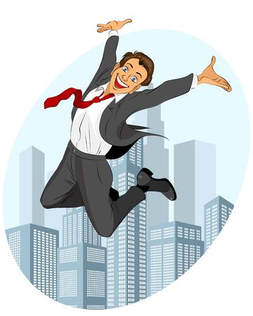 glad: illustration of glad businessman jumping Illustration