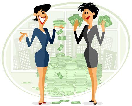 businesswomen: illustration of a two businesswomen with money Illustration