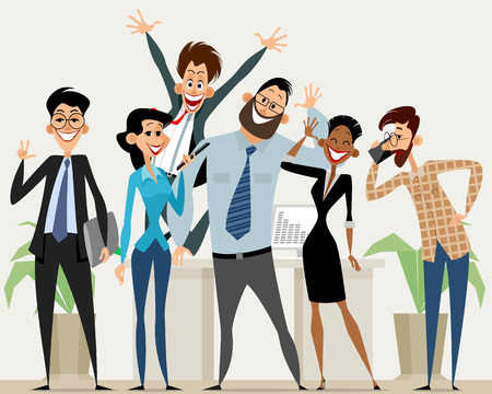 office team: illustration of a business team in office