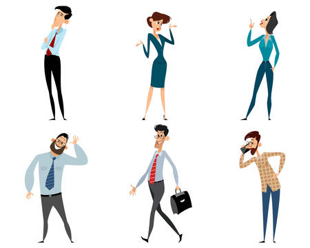 woman smiling: illustration of a six office workers