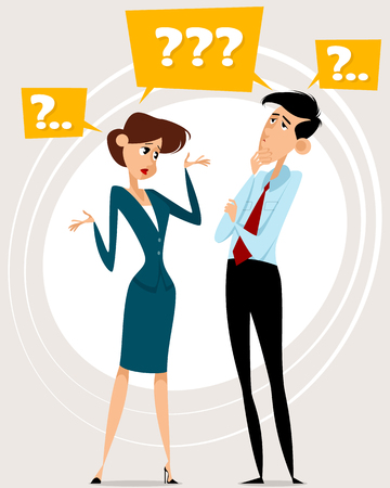 confusing: illustration of a two workers with questions Illustration
