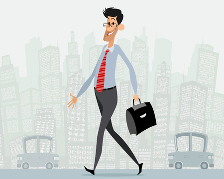 goes: illustration of a businessman with briefcase goes Illustration