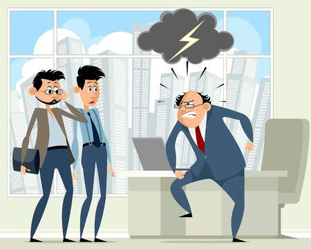 Vector illustratie van een baas en werknemers in het kantoor Vector Illustratie