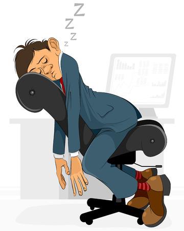 Vector illustration of a businessman falls asleep