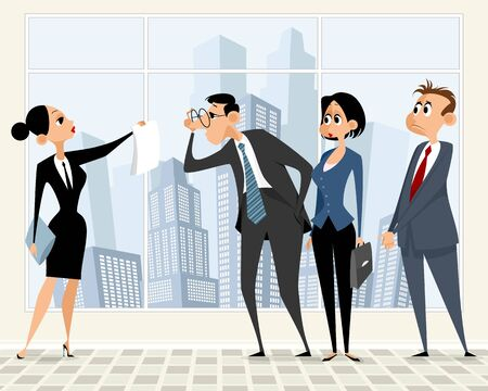 business scene: Vector illustration of a business scene in office Illustration
