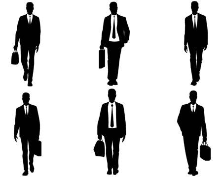 valise: illustration of a six businessmen set Illustration