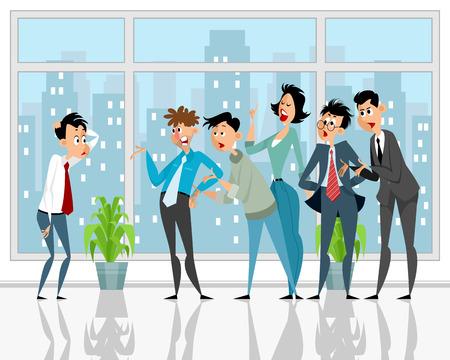 Vector illustration of a colleagues convince subordinate Illustration