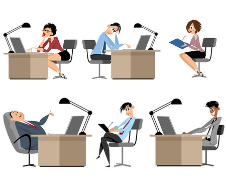 Vector illustration of a six businessmen at workplace Illustration