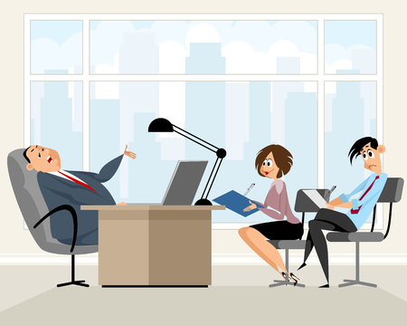 Vector illustration of a workers in chiefs office