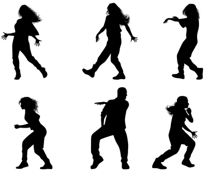 adolescent: Vector illustration of a six dancing teenagers