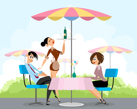 pals: Vector illustration of a pals in summer cafe