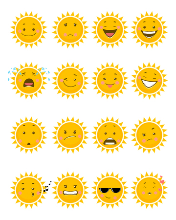 Vector illustration of a sixteen sun emojis