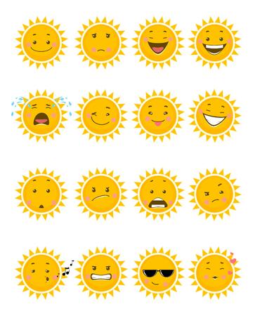 Illustration vectorielle d'un seize emojis de soleil