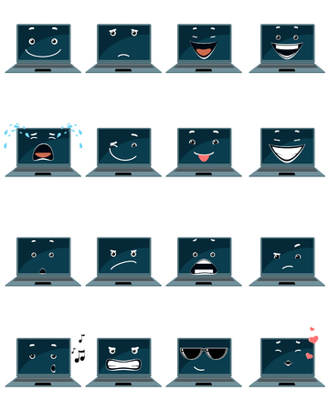 resentment: Vector illustration of a sixteen laptop emojis