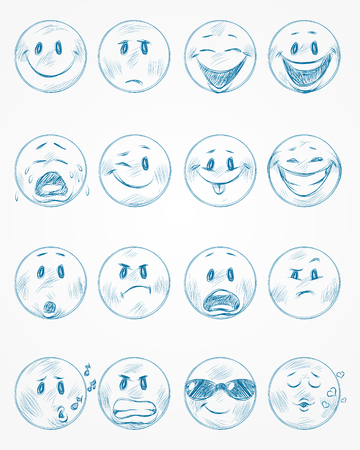 Vector illustration of a sixteen blue faces