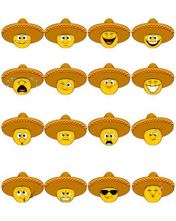 resentment: Vector illustration of a sixteen faces in sombrero