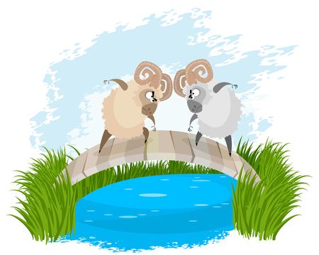 Vector illustration of a two rams on bridge Ilustrace