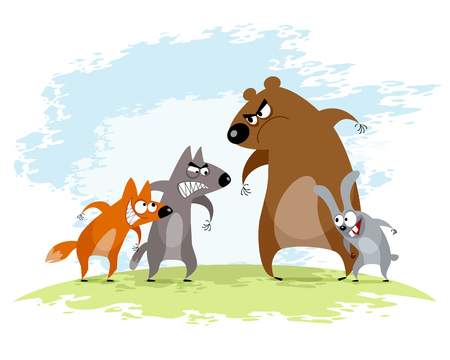 Vector illustration of a four animals conflict.